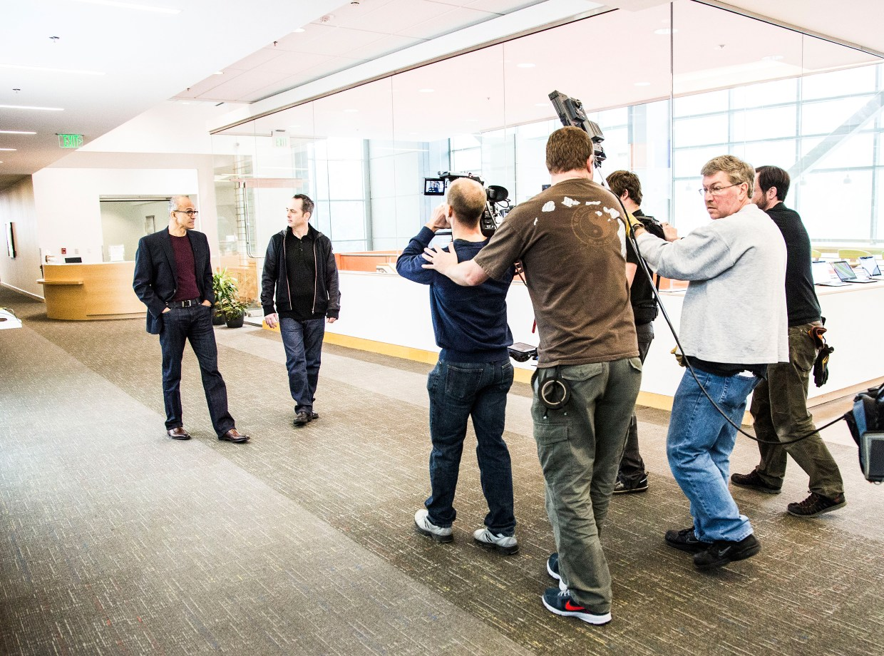 Microsoft's CEO Satya Nadella and Chief Storyteller Steve Clayton filming in the office. Photo by Brian Smale