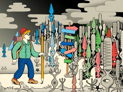 Illustration of man in landscape with signposts.
