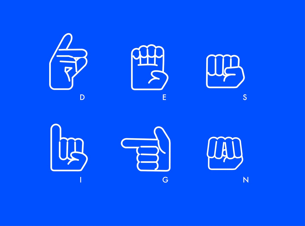 Illustrations of hands performing sign language on blue background