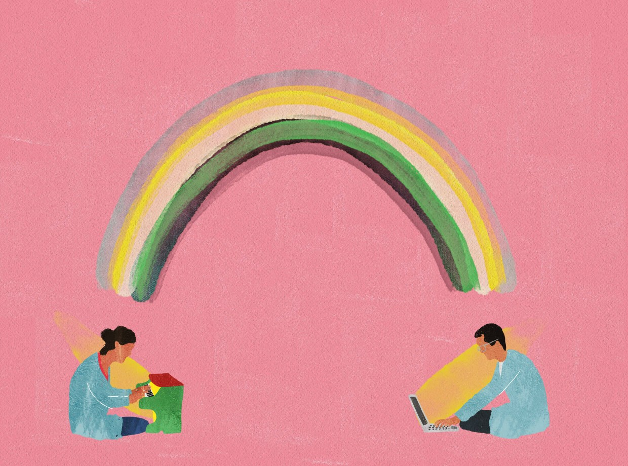 pink background with a figure at each end of a rainbow