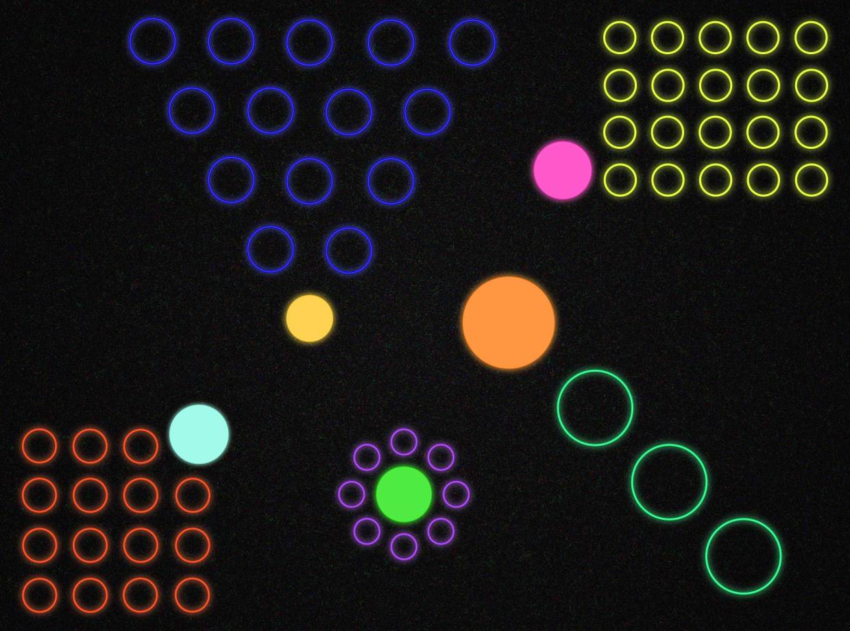 The pattern of bright circles represents 99U's best ideas on leadership. Image by Julie Campbell.