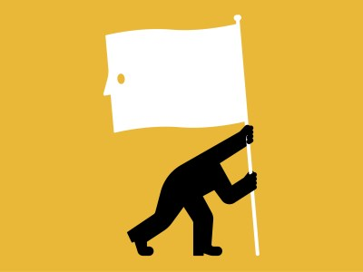Figure drawing of a headless man waving a flag with a blank face on it