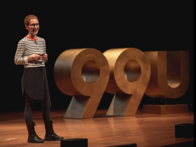 Giorgia Lupi speaking on the 99U Conference main stage