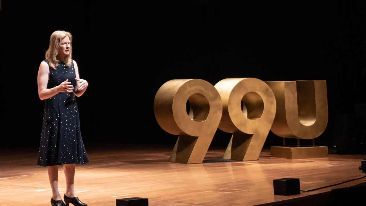Vivienne Ming speaking on the 99U Conference main stage