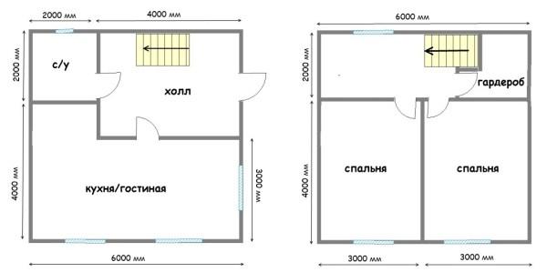 Двухэтажный Дом 6 На 6 Планировка Фото