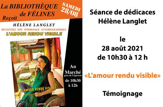 9 EDITIONS séances de dédicaces Hélène Langlet bibliothèque de Félines