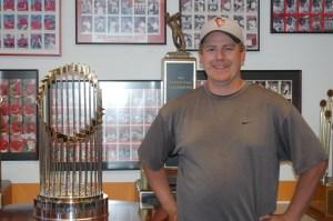 Josh Randolph with the World Series Trophy