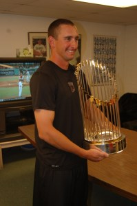 Phil McCormick with the World Series Trophy