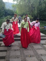 Students from the Korea National University of Cultural Heritage, in beautiful traditional Korean dress.