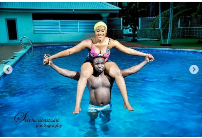 Cute Couple Takes Their Pre Wedding Photoshoot To The Swimming Pool As Man Carries His Fiancee On Shoulder Poses Inside
