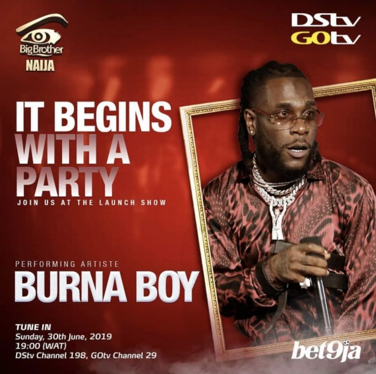 BURNA BOY, TENI, ZLATAN SET TO THRILL NIGERIANS AT BBNAIJA 2019 PREMIERE BURNA BOY, TENI, ZLATAN SET TO THRILL NIGERIANS AT BBNAIJA 2019 PREMIERE BURNA BOY 1024x1018