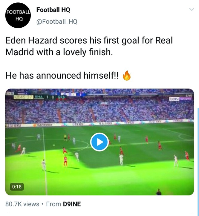Eden Hazard Scored his First Madrid Goal with a Fine finish 2