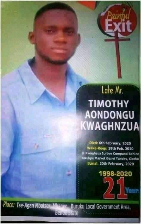 Final Year Benue State University Student Is Shot Dead By Suspected Cultists A Month To Graduation