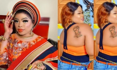 Die-Hard Fan Tattoos Bobrisky's Face On Her Back, He Reacts