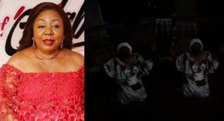 #EndSARS: Senator Florence Ita Giwa cries heavily as she kneels to beg Youth in Cross River State (Video)
