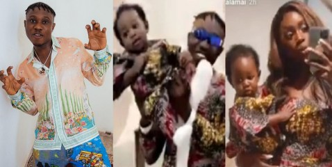 Family Over Everything: Zlatan Ibile, His Son And Baby-Mama Davita, Rock Matching Outfits For A Photo-Shoot (Video)
