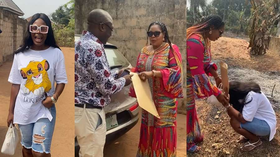 Kaisha sheds tears of joy as she received two and half plots of land from her lovely mother (video)