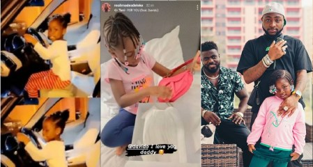 Days after gifting her Range Rover, Davido buys a pink Dior bag worth over N1million for his daughter, Imade (Photos)