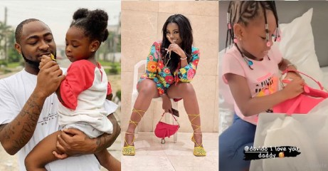 Gbas Gbos! Davido's baby mama, Sophia caught rocking the N1.5M bag he bought for their daughter, Imade [Photos]