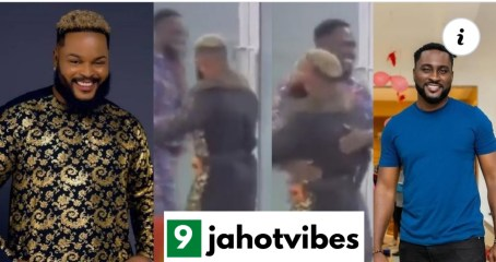 #BBNaija: Watch The Video of Whitemoney shaking & hugging Pere surfaces to counter his claim about getting snubbed by Whitemoney