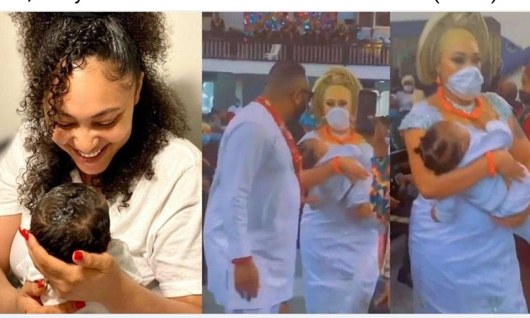 Olakunle Churchill and wife, Rosy Meurer dedicate their son in church (video)