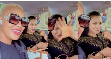 Tonto Dikeh and Angela Okorie passionately sings Ric Hassani's 'Thunder fire you' weeks after messy breakup with, Prince Kpokpogri (video)