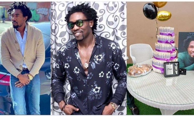 #BBNaija: Former housemate, Boma's fans show their genuine love for him with a tray of small chops, customized flask among other gift items