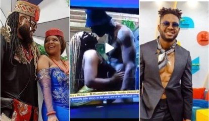 #BBNaija: Queen Kisses Cross Passionately In The Presence Of Whitemoney During the Jacuzzi party (Videos)