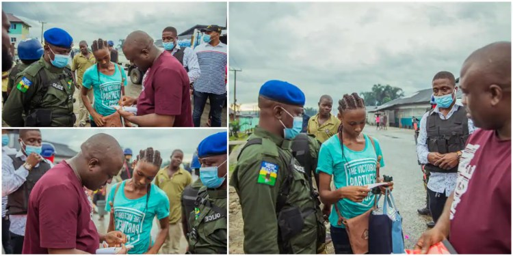 Chinmark Group CEO Marksman Chinedu Ijiomah Surprises A Fashion Designer with N500k for her Calmness after His Car Mistakenly Splashed Water on Her (Photos)