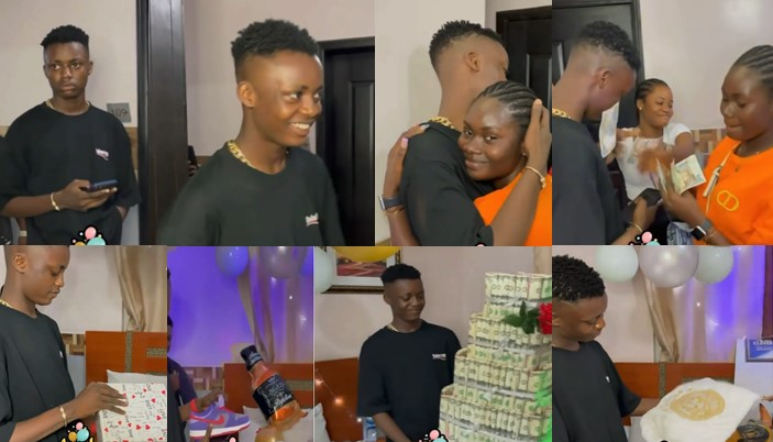 Young girl surprises her boyfriend with large money cake, sneakers, designer clothes on his birthday (Video)