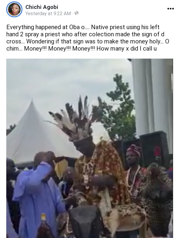 (Video) Traditionalist placed Money on Head of Rev Fr in Cubana Mum's Burial