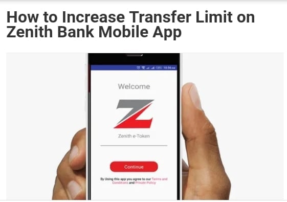 How to Increase Transfer Limit on Zenith Bank Mobile App