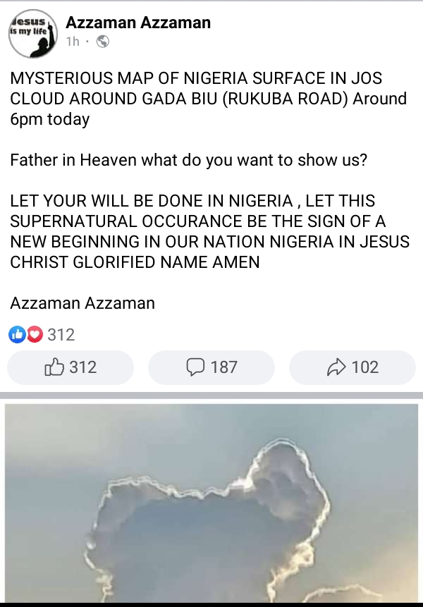 Strange Map of Nigeria Appeared on the Sky in Jos, Igbo Tribe Missing