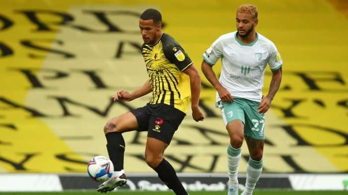 Super Eagles defender William Troost-Ekong reacts after scoring his first goal for Watford