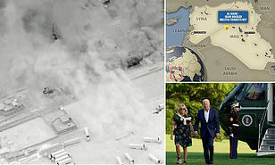 Multiple rockets hit US base in Syria less than 24 hours after Biden launched midnight airstrikes in Iraq-Syrian border killing 7 militants