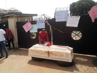 Protesting Imo youths barricade NDDC office with coffin