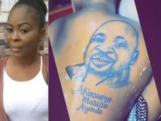 Lady tattoos MC Oluomo's face on her back (photo/Video)