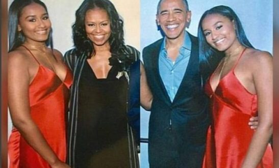 Sasha Obama stuns in red slip dress at her 16th birthday (Photos)