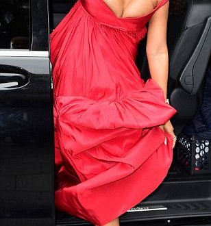Rihanna struggles to contain her boobs in low-cut scarlet gown at Valerian premiere (Photos)