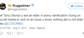 'Going on social media to rant on issues you know nothing about is not elder like' -Ruggedman slams Tony Okoroji over Lai Mohammed