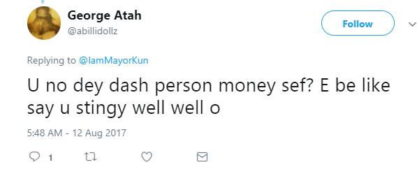 Mayorkun replies fan who said he's stingy
