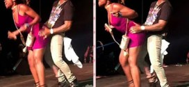 Check out Davido's expression when a lady rocked him on stage