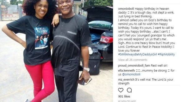Omoni Oboli remembers late dad's birthday