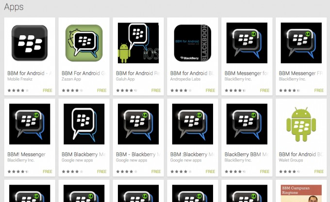 These are all fake BBM apps — don't download them