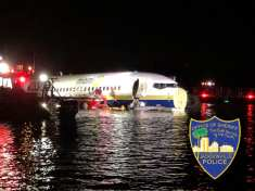 American Boeing 737 Plane Slides off Runway Into River, 21 Passengers Injured