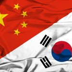 China and South Korea flags