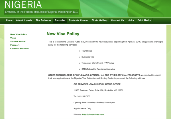 Nigeria Embassy US Screen shot