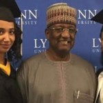 Alhaji Mohammed Indimi and his two graduated daughters Amouna and Hauwa -Photos