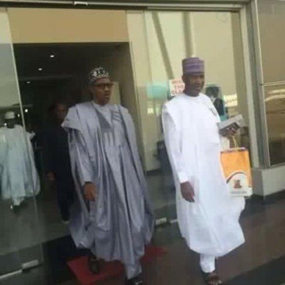 President Buhari and Minister of Aviation Hadi Sirika