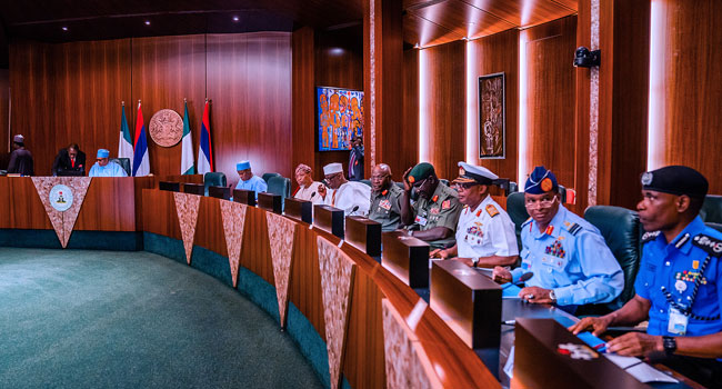 Buhari meets with Sevice Chiefs and Aregbesola